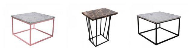 Kolaz z marmurowymi stolikami